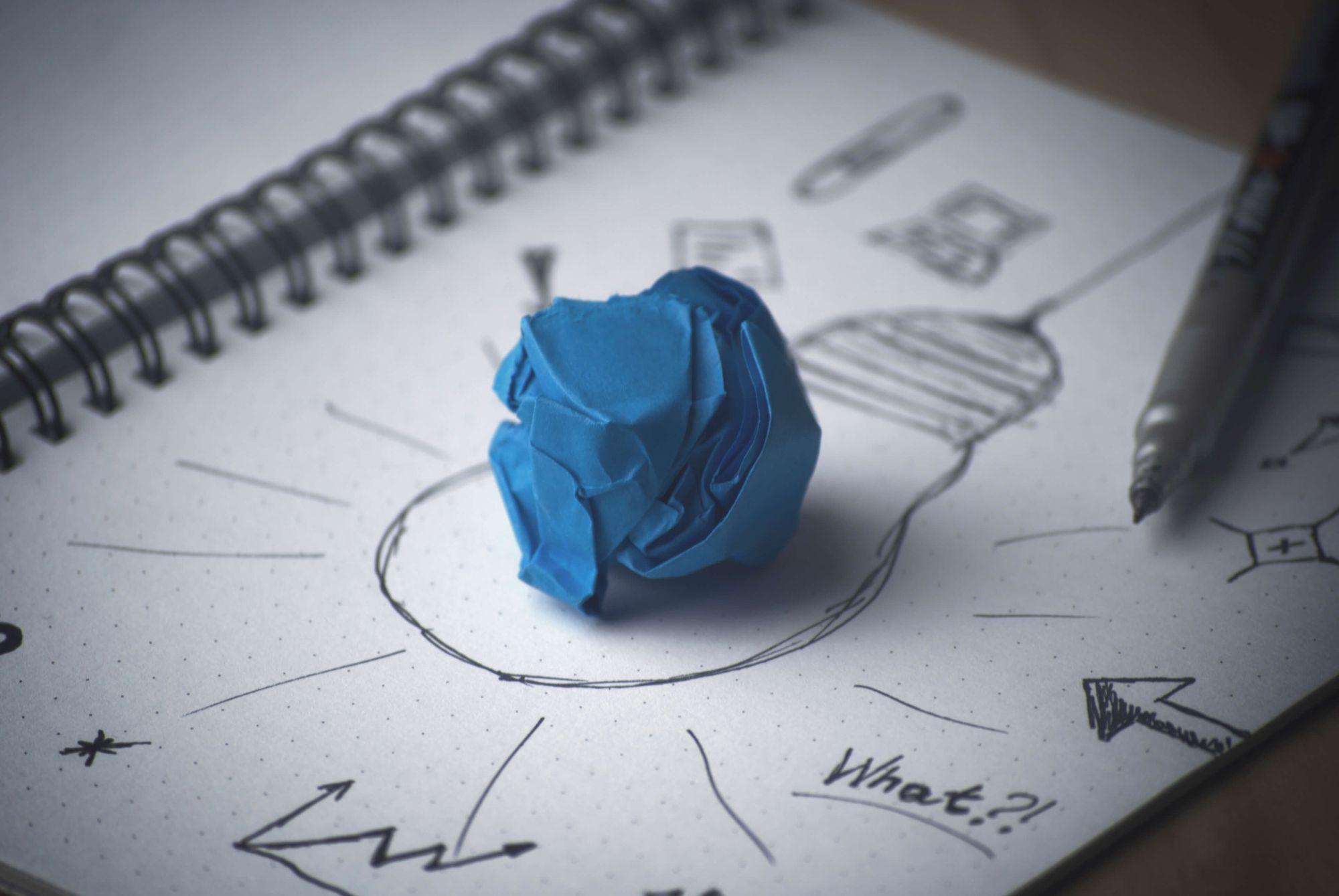 pen idea bulb paper