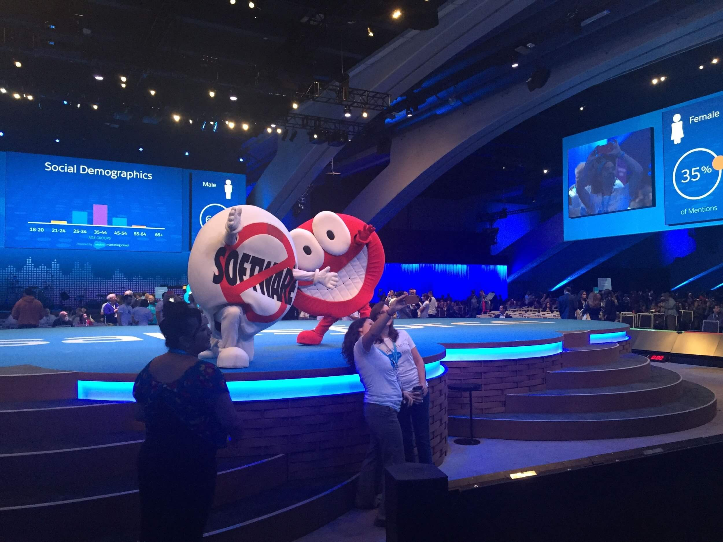 mascots on Salesforce conference